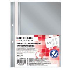 Dosar plastic PP cu sina, cu gauri, grosime 100/170microni, 50 buc/set, Office Products - gri
