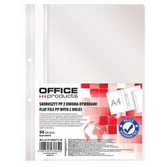 Dosar plastic PP cu sina, cu gauri, grosime 100/170microni, 50 buc/set, Office Products - alb
