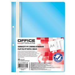 Dosar plastic PP cu sina, cu gauri, grosime 100/170microni, 50 buc/set, Office Products - bleu