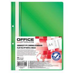Dosar plastic PP cu sina, cu gauri, grosime 100/170 microni, 50 buc/set, Office Products - verde