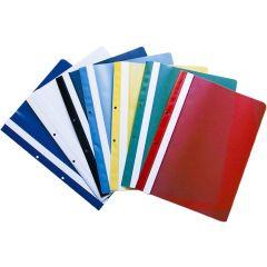 Dosar plastic PP cu sina, cu gauri, grosime 120/180 microni, 10 buc/set, Optima - albastru