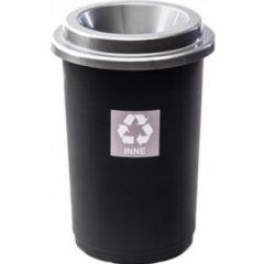 Cos plastic reciclare selectiva, capacitate 50l, PLAFOR Eco - negru cu capac argintiu - altele