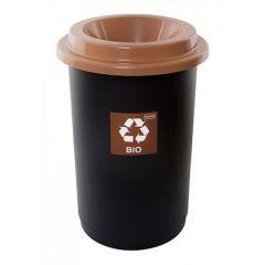 Cos plastic reciclare selectiva, capacitate 50l, PLAFOR Eco - negru cu capac maro - bio