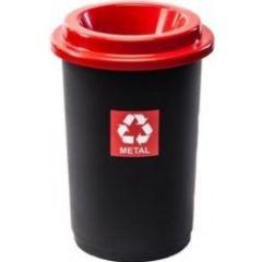 Cos plastic reciclare selectiva, capacitate 50l, PLAFOR Eco - negru cu capac rosu - metal