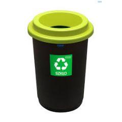 Cos plastic reciclare selectiva, capacitate 50l, PLAFOR Eco - negru cu capac verde - sticla