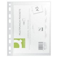 Folie protectie pentru documente A5,  50 microni,  50folii/set, Q-Connect - transparenta