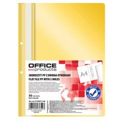 Dosar plastic PP cu sina, cu gauri, grosime 100/170microni, 50 buc/set, Office Products - galben