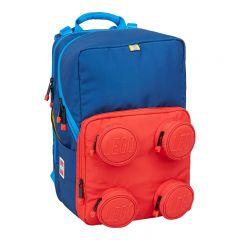Ghiozdan scoala Petersen LEGO Core Line - design Brick 2x2 - albastru/rosu