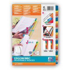 Index carton alb Mylar numeric 1-31, margine PP color, A4 XL, 170g/mp, OXFORD