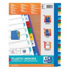 Index plastic color numeric 1-31, A4 XL, 120 microni, OXFORD