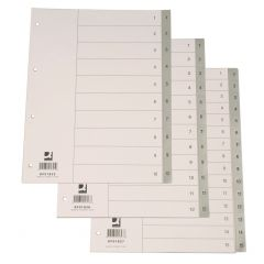 Index plastic gri, numeric  1-10, A4, 120 microni, Q-Connect