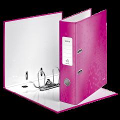 Biblioraft LEITZ 180 WOW, carton laminat, A4, 52 mm, roz