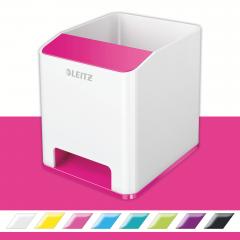 Suport instrumente de scris, LEITZ Wow cu amplificare sunet - roz metalizat/alb