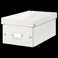 Cutie depozitare Leitz WOW Click & Store, carton laminat, pliabila, cu capac, 20x14x35 cm, alb