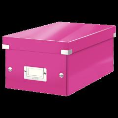 Cutie depozitare Leitz WOW Click & Store, carton laminat, pliabila, cu capac, 20x14x35 cm, roz