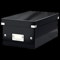 Cutie depozitare Leitz WOW Click & Store, carton laminat, pliabila, cu capac, 20x14x35 cm, negru