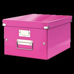 Cutie LEITZ Click & Store medie 281 x 200 x 369 mm, carton laminat - roz