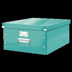 Cutie LEITZ Click & Store mare 369 x 200 x 484 mm, carton laminat - turcoaz