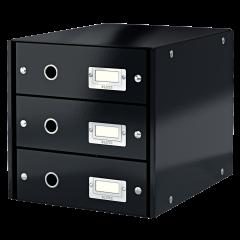 Suport cu 3 sertare, din carton laminat, LEITZ Click & Store - negru