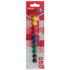 Magneti forma rotunda, diametru 15mm, 10 buc/blister, Office Products - culori asortate