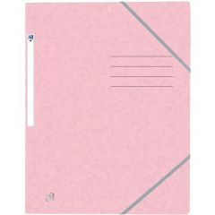 Mapa A4, carton MultiStrat 390g/mp, cu elastic, OXFORD Top File - roz pastel