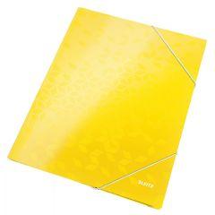 Mapa cu elastic Leitz WOW, carton laminat, A4, 250 coli, galben