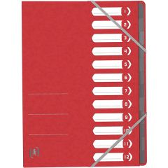 Mapa carton pentru sortare cu 12 separatoare si index, elastic pe colturi, OXFORD Top File - rosu
