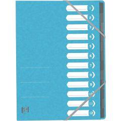 Mapa carton pentru sortare cu 12 separatoare si index, elastic pe colturi, OXFORD Top File - bleu