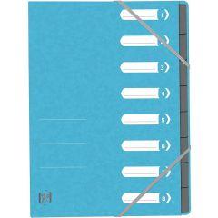 Mapa carton pentru sortare cu  8 separatoare si index, elastic pe colturi, OXFORD Top File - bleu