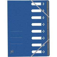 Mapa carton pentru sortare cu  8 separatoare si index, elastic pe colturi, OXFORD Top File - albastr