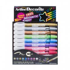 Marker ARTLINE Decorite, varf flexibil (tip pensula), 10 culori metalizate/set + 1 folie magnetica n