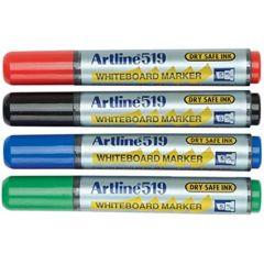 Marker pentru tabla de scris ARTLINE 519 - Dry safe ink, varf tesit 2.0-5.0mm, 4 culori/set