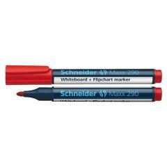 Marker SCHNEIDER Maxx 290, pentru tabla de scris+flipchart, varf rotund 2-3mm - rosu