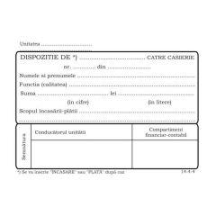 Dispozitie plata casierie, format A6, autocopiativ, 50 set/carnet