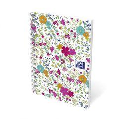 Caiet cu spirala A6, OXFORD Floral, 100 file, coperta carton - mate