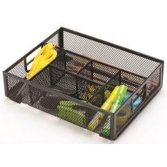 Organizer metalic Mesh, de birou, 6 compartimente, Q-Connect - negru