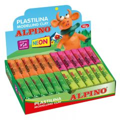 Display plastilina fluorescenta, 24 x  50gr./display, ALPINO -  6 culori asortate