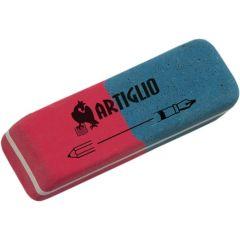 Radiera cauciuc pentru creion/cerneala, ARTIGLIO - rosu/albastru