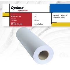 Rola copiator A2, 80gr, 420mm x 175m, 2 role/cutie, Optima - Premium