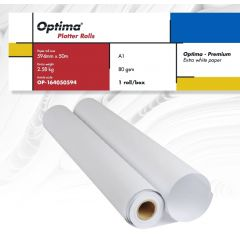 Rola plotter A1, 80gr, 594mm x 50m, Optima - Premium