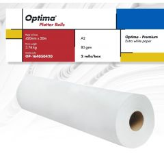 Rola plotter A2, 80gr, 420mm x 50m, 2 role/cutie, Optima - Premium