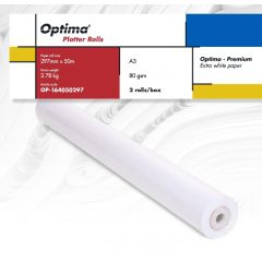 Rola plotter A3, 80gr, 297mm x 50m, 2 role/cutie, Optima - Premium