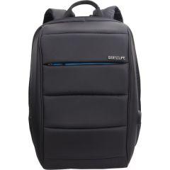 Rucsac BESTLIFE Travel Safe - negru/albastru - laptop 16 inch, charge pentru USB si TypeC conectori