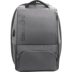 Rucsac BESTLIFE Neoton - gri - laptop 16 inch, charge pentru USB si TypeC conectori