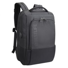 Rucsac BESTLIFE Neoton - gri/negru - laptop 16 inch, charge pentru USB si TypeC conectori