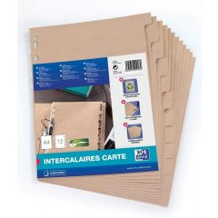 Separatoare carton reciclat, A4, 12 buc/set, OXFORD Touareg - bej natural