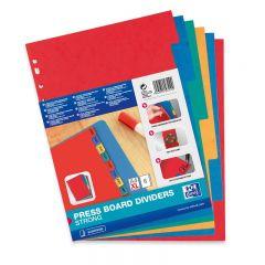 Separatoare carton color, A4 XL, 225g/mp,  6 culori/set, OXFORD