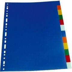 Separatoare plastic color, A4, 120 microni, 10 culori/set, Optima