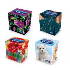 Servetele faciale, 3 straturi, 60 buc/cutie, VELVET Style-Cube - albe