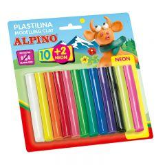 Plastilina standard, 10 + 2 neon x 17 gr./blister, ALPINO - 12 culori asortate